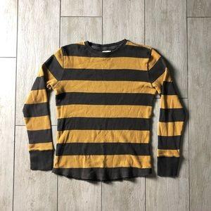 Yellow Gold Gray Striped Long Sleeve Thermal Shirt